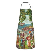 Maurice Brazil Prendergast Salem Cove Cute Aprons for with , Aprons for the Kitchen, Cotton Apron for Cooking Baking BBQ Restaurant,28x20 inch,applicable Supermarkets 52cm x 72cm