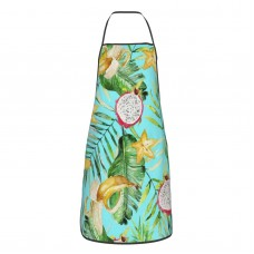 Watercolor Green Palm Leaves Banana Pineapple Cute Aprons for with , Aprons for the Kitchen, Cotton Apron for Cooking Baking BBQ Restaurant,28x20 inch,applicable florists 52cm x 72cm