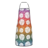 Rainbow Glitter Volleyball Cute Aprons for with , Aprons for the Kitchen, Cotton Apron for Cooking Baking BBQ Restaurant,28x20 inch,applicable Supermarkets 52cm x 72cm