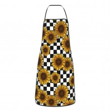 90s Sunflowers Checkerboard Cute Aprons for with , Aprons for the Kitchen, Cotton Apron for Cooking Baking BBQ Restaurant,28x20 inch,applicable kitchens 52cm x 72cm