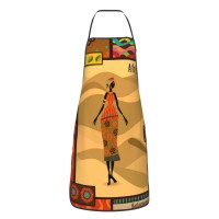 African Girl Tribal Floral Cute Aprons for with , Aprons for the Kitchen, Cotton Apron for Cooking Baking BBQ Restaurant,28x20 inch,applicable restaurants 52cm x 72cm