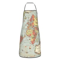 Antique World Map Cute Aprons for with , Aprons for the Kitchen, Cotton Apron for Cooking Baking BBQ Restaurant,28x20 inch,applicable hotels 52cm x 72cm