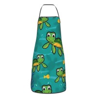 B07B6JYD6B Hawaiian Baby Turtle.png Cute Aprons for with , Aprons for the Kitchen, Cotton Apron for Cooking Baking BBQ Restaurant,28x20 inch,applicable restaurants 52cm x 72cm