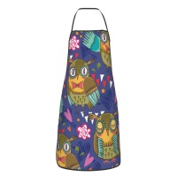 Cartoon Owls And Flowers Cute Aprons for with , Aprons for the Kitchen, Cotton Apron for Cooking Baking BBQ Restaurant,28x20 inch,applicable kitchens 52cm x 72cm