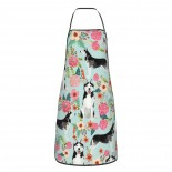 Husky Florals Cute Aprons for with , Aprons for the Kitchen, Cotton Apron for Cooking Baking BBQ Restaurant,28x20 inch,applicable Supermarkets 52cm x 72cm
