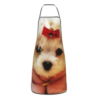 Maltese Puppy Red Bow Cute Aprons for with , Aprons for the Kitchen, Cotton Apron for Cooking Baking BBQ Restaurant,28x20 inch,applicable hotels 52cm x 72cm