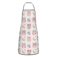 Owls Stars Moon Patterns Cute Aprons for with , Aprons for the Kitchen, Cotton Apron for Cooking Baking BBQ Restaurant,28x20 inch,applicable Supermarkets 52cm x 72cm